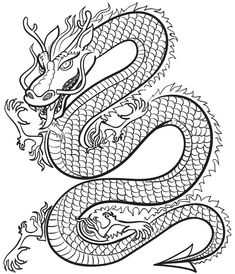 Coloriage : Le dragon chinois | Momes.net                                                                                                                                                                                 Plus