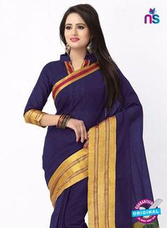 SC 13384 Blue and Golden Fashionable Traditional Cotton Handloom Saree Cotton Sarees Online Shopping, Handloom Saree, New Shop, Cotton Silk, Sari, Traditional, Blue, Stuff To Buy, Collection