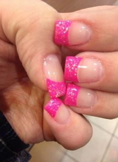 French tip acrylic nails, glitter french tips, colored french nails, French Nails, Sparkle French Manicure, Glitter French Tips, French Pedicure, Manicure Y Pedicure, Manicure Ideas, Pedicure Designs, Sparkle Nails, Glitter Pedicure