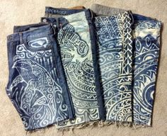 Men's upcycled jean shorts with tribal by reMusedClothing on Etsy