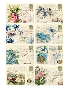 Birds and roses labels