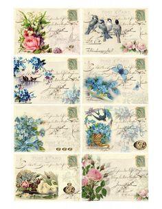 Sheet vlinders, vogels en rozen | ~Dieren | Nostalgie & Brocante