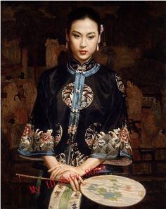 Handmade Oil Painting Chinese Qing Noble Lady Portrait with Fan Standing 1234 | eBay
