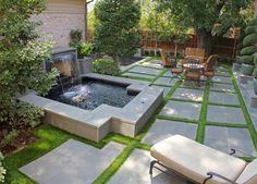 Fake grass- looks good to me! I could so easily live with this! NCW Fake grass- looks good to me! Large Backyard Landscaping, Backyard Patio, Backyard Ideas, Landscaping Ideas, Luxury Landscaping, Backyard Designs, Pergola Ideas, Courtyard Design, Gardens