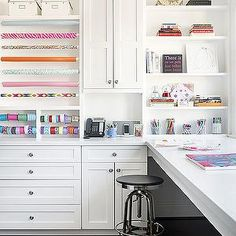 Traditional Home - dens/libraries/offices - craft room, craft room ideas, wrapping paper room, wrapping paper room ideas, gift wrapping room, gift wrapping room ideas, wrapping paper holders, gift ribbon holders, built ins, built in cabinets, built in shelves, floating shelves, built in desk, long floating desk, floating desk, industrial desk stool, desk stool,