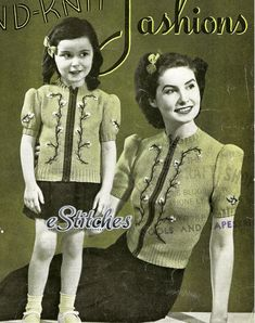 1940s Short Puff Sleeved Sweater Blouse for Ladies and Girls - Knitting pattern PDF 4025