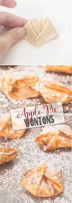 Apple Pie Wontons with cinnamon sugar and powdered sugar| Apple Pie Bites | Easy Dessert Recipe
