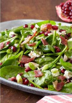 Special Spinach Salad – What makes this spinach salad special? 1. Pomegranate seeds. 2. Crumbled feta 3. BACON!