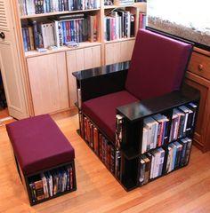 Chair Bookshelf Chair Source by karivianschultz Creative Bookshelves, Bookshelf Design, Diy Bookshelf Chair, Bookcase, Ikea Furniture, Furniture Projects, Furniture Design, Furniture Buyers, Chair Design