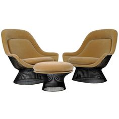 Warren Platner Lounge Chairs and Ottoman | From a unique collection of antique and modern lounge chairs at http://www.1stdibs.com/furniture/seating/lounge-chairs/