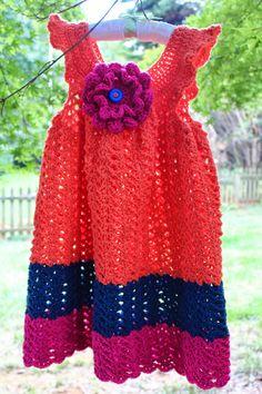 Harris Sisters GirlTalk: Color Block Toddler Dress and Big Flower Free Crochet Patterns