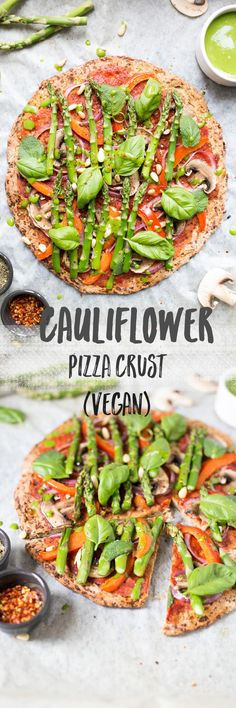 Easy cauliflower pizza crust with spinach dressing | via @annabanana.co