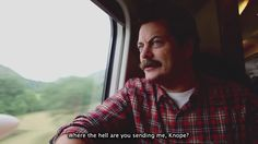 """Ron Swanson (Nick Offerman) nell'episodio 6x02 (London, Part 2) di """"Parks And Recreation"""""""