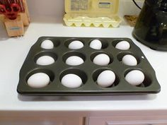 Baked Hard Boiled Eggs Bake at 325 for 30 minutes. Remove with Chef's Tongs and place in an ice bath immediately.    This is by far the best way to make eggs! You can do 1 egg or 24 eggs...time and temp are the same! When I do this many eggs I just fill the sink with ice water and place them right in there. Eggs are SO EASY to peel, no sticking!