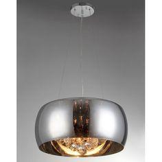 para sala de jantar Pendente Vidro Espelhado Cromado com Cristal 6 Lâmp G9