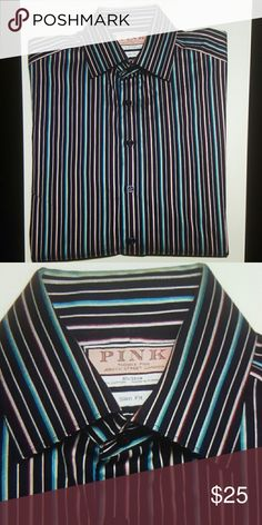 Mens Thomas Pink Dress Shirt Size Slim 15.5 x 36 Men's rarely and gently worn Thomas Pink shirt Size slim fit 15 1\2 inches neck, 36 inches sleeves 20 1\2 inches armpit to armpit 32 inches down the center back 19 inches across the top back shoulders Button front, cutaway collar No pockets, standard cuffs Striped pattern-navy blue, teal, red, grayish white and tan Very good condition, no fade Thomas Pink Shirts Dress Shirts