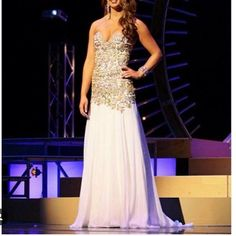 Custom Sherri Hill pageant prom dress Worn once on stage for 30 minutes max   Size 6 altered down to more of a 4  Some alterations made to waste I'm 5 5 125 and wore 5.5 inch heels Paid $5,875 Sherri Hill Dresses Prom