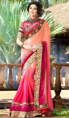 Latest Designer Georgette Embroidery Work Saree In AngelNX.Com, Bridal Stone And Zari Work Saree, Wedding Saree Pettern In India.Party Wear Collection In Indian Design. Chiffon Saree, Georgette Sarees, Lehenga Choli, Lehenga Style, Anarkali Gown, Sharara, Hyderabad, Sarees Online India, Neck Deep