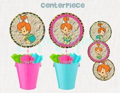 Instant Download Flintstones Birthday Party Digital Pebbles Birthday Party Flintstones Party Decor Printable Pebbles Cupcake Toppers
