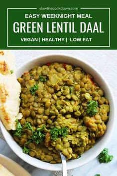 easy one pot meals This green lentil daal recipe is Indian inspired and packed full of tasty spices. It's ready in less than 45 minutes, made in one pot and perfect for meal prep. It also happens to be vegan, so it's perfect for your meat free Monday! Lentil Recipes, Vegetarian Recipes, Cooking Recipes, Healthy Recipes, Easy Cooking, Healthy Meals, Lentil Curry, Green Lentil Dahl Recipe, Green Lentil Soup