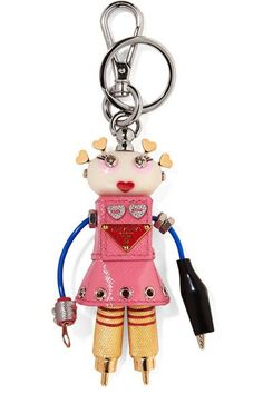Prada - Cheer Robot Embellished Textured-leather Keychain - Baby pink - one size