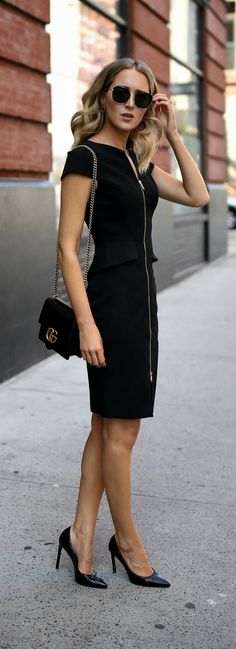 Classic Black Sheath // Black peplum front zip sheath dress, classic black pumps, oversized sunglasses {Ted Baker, Nordstrom, Saint Laurent, Gucci, workwear, wear to work style, office style}