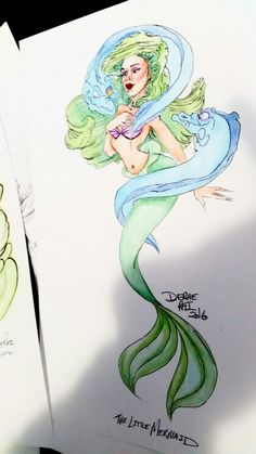 Ariel by Derae Rai   Disney The Little Mermaid fan art Friday doodles.  Joker inspired Disney Princess self portraits  Jared leto suicide squad joker vibes