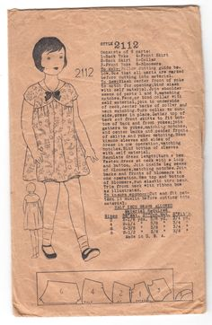 Antique Sewing Pattern 1920's Girl's Flapper Dress by Mrsdepew