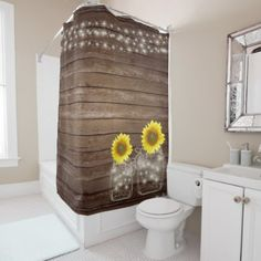 String of Lights with Sunflowers Shower Curtain - diy cyo customize create your own personalize
