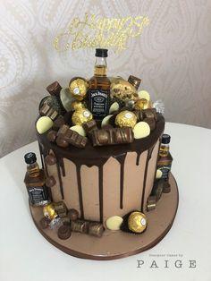 Alcohol Birthday Cake, 50th Birthday Cakes For Men, Birthday Drip Cake, Number Birthday Cakes, Alcohol Cake, Bithday Cake, Elegant Birthday Cakes, Chocolate Drip Cake Birthday, Chocolate Birthday Cake Decoration