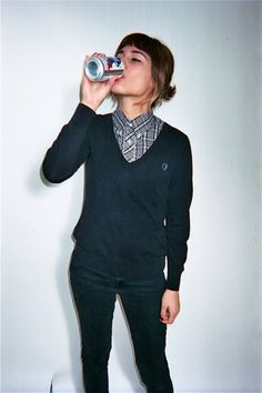 Throw a collared shirt on under those sweaters. Love it.