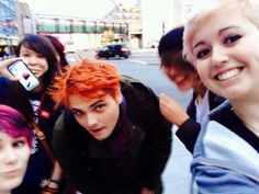 "Totally me an my friends if we ever saw Gerard Way. Me and a couple others would be like ""OMG ITS GEE"" and everyone else would say ""WTF? Who is this strange middle aged man with colorful hair?"""
