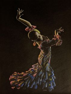 Flamenco dancer in coloured dress by Martin Howard