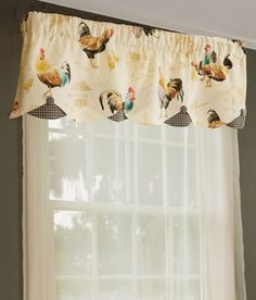 Rooster Strut Lined Layered Scalloped Valance French Decor, French Country Decorating, Country French, Window Coverings, Window Treatments, Buffalo Check Curtains, Chicken Pictures, Country Chicken, Chickens And Roosters
