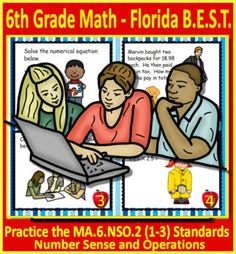 Printable AND GOOGLE SLIDES LINK - ***NEW*** Florida's B.E.S.T. Standards for 6th Grade Mathematics - Practice these NEW standards using Task Cards with these 6th grade math task cards. This set covers MA.6.NSO.2 Number Sense and Operations - Add, subtract, multiply and divide positive rational numb...