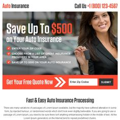 auto insurance processing leads ppv landing page design