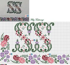 Cross Stitch Designs, Cross Stitching, Embroidery Patterns, Pattern Design, Bullet Journal, Canvas, Crochet, Floral, Flowers