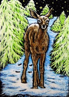 ACEO #WONDERS2014 Original Scratchboard WINTER PASSAGE Deer Wildlife MoniqueMM #Realism