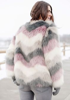 This fabulous faux fur coat boasts a silky-soft feel in a trio of colors to add luxurious warmth and a playful pattern to your look. Faux Fur Jacket, Faux Fur Coats, Fur Vest Outfits, Fur Fashion, Womens Fashion, Fur Clothing, Autumn Winter Fashion, Winter Outfits, Ideias Fashion