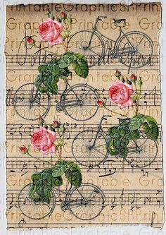 Digital Paper Gift Wrapping Vintage Roses Bicycles Collage Sheet Scrapbooking Printable