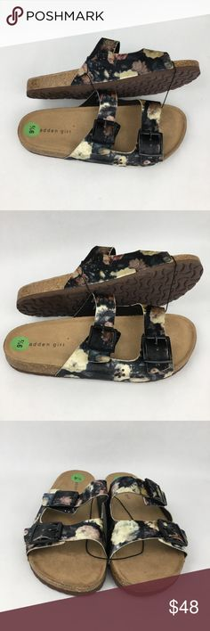 """Steve Madden Girl Floral Suede Buckle Slides New, never worn. Size 9.5. Soft and comfortable footbed. Slides are the """"Birkenstock"""" style shoe with adjustable buckles. Madden Girl Shoes Sandals"""