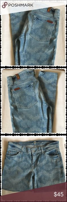 """7 For All Mankind The Skinny w/Aztec Print In Excellent Condition 7 For All Mankind The Skinny w/Aztec Print medium wash low rise 5 pockets, belt loops, zip fly with button enclosure measurements are as follow: Waist:14""""Length: 38""""Inseam:29""""Rise: 8""""Hips: 16"""". Feel free to browse my closet and if you have any questions!! All offers are welcomed! 7 For All Mankind Jeans Skinny"""