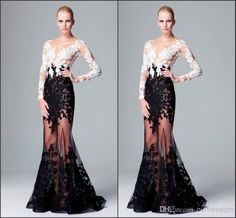 Wholesale Prom Dresses - Buy 2014 New Zuhair Murad Lace Prom Dresses With Scoop Appliques Long Sleeves See Through Mermaid Floor Length Sexy Evening Pageant Party Gowns, $144.91 | DHgate