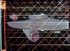 Optical Composite Enterprise in Tholian Web front view United Federation Of Planets, Star Trek Original Series, Star Trek Ships, Star Trek Tos, Spacecraft, Restoration, Battle, Composition, Gray Lady