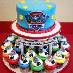 Paw patrol cake and cupcakes! Paw patrol cake and cupcakes! Paw Patrol Cupcakes, Paw Patrol Cake, Paw Patrol Party, 4th Birthday Cakes, 4th Birthday Parties, Birthday Ideas, Pastel Paw Patrol, Paw Patrol Birthday Theme, Bolo Mickey