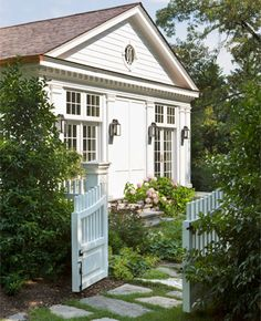 Anne Decker Architect - small home with curb appeal Porte Cochere, Cozy Cottage, Cottage Style, White Cottage, Build Your Own Shed, Entrance Design, Shed Plans, Garden Gates, Architecture
