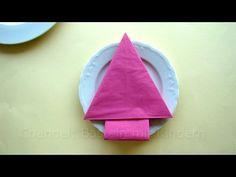 Servietten falten: Weihnachten - Tannenbaum Weihnachtsdeko basteln mit Kindern - YouTube
