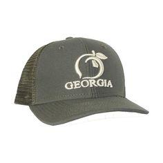 68d87a26087 Peach State Pride  Georgia Mesh Back  Trucker Hat- Olive