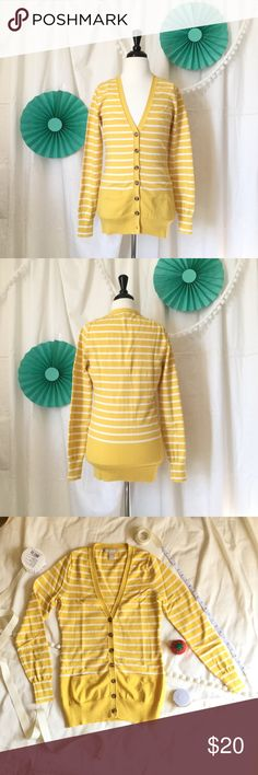 """Banana Republic Long V-neck Cardigan Long v-neck cardigan in bright mustard yellow with white stripes from Banana Republic. Size XS. Tortoise buttons. Fitted yet stretchable. Materials: 90% cotton, 10% cashmere. Measurements: 25.5"""" long, 12"""" shoulder-to-shoulder, 16"""" armpit-to-armpit, 24"""" sleeve length. Gently worn a few times. Perfect for Spring. Banana Republic Sweaters Cardigans"""