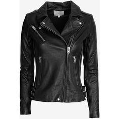 IRO Tara Moto Leather Jacket ($1,260) ❤ liked on Polyvore featuring outerwear, jackets, coats, leather jackets, coats & jackets, black, real leather jacket, zip jacket, 100 leather jacket and lined jacket